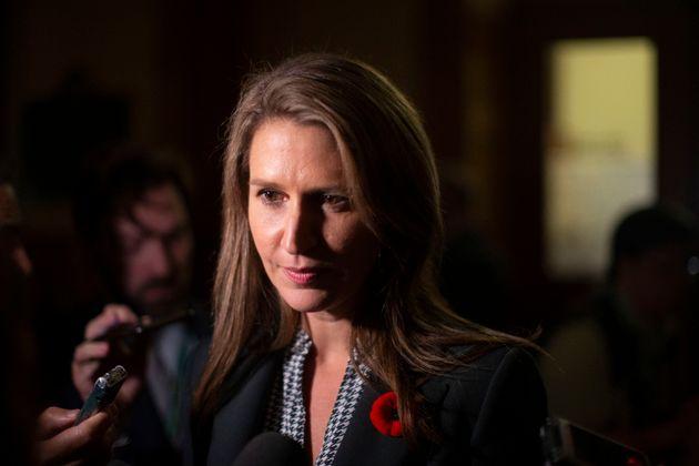 Ontario Minister of Transportation Caroline Mulroney speaks to media in the Ontario legislature in Toronto...