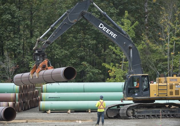 Pipeline pipes are seen at a Trans Mountain facility near Hope, B.C. on Aug. 22,