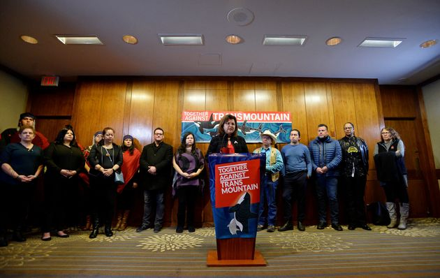 First Nations chiefs and Coast Salish drummers, ahead of Federal Court of Appeal hearings on the Trans...