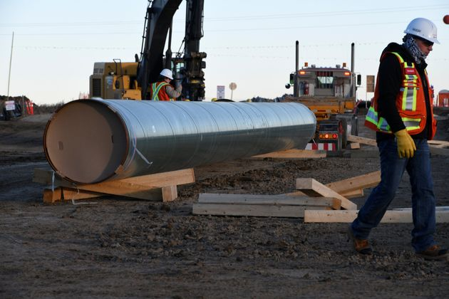 Trans Mountain oil pipeline advances to a new construction stage, in Alberta, on Dec. 3,