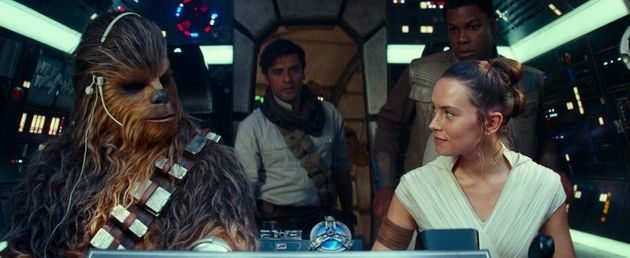 Joonas Suotamo, Oscar Isaac, John Boyega and Daisy Ridley in Star Wars: The Rise of
