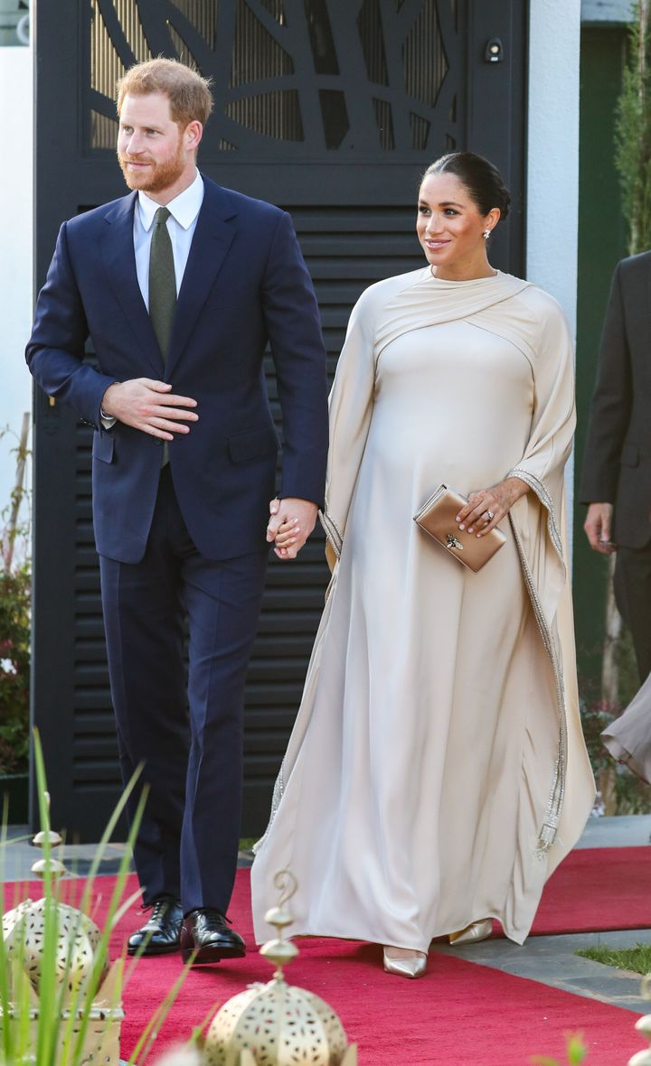 The Duke and Duchess of Sussex attend a reception hosted by the British ambassador to Morocco during the second day of their tour of Morocco on Feb. 24.
