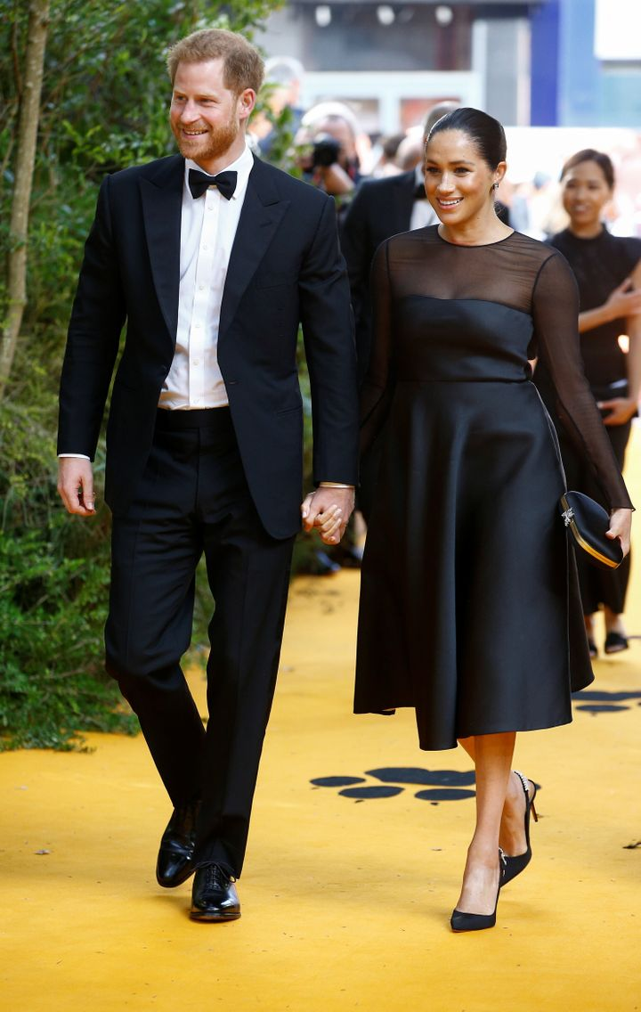 "Harry and Meghan attend the European premiere of ""The Lion King"" in London on July 14."