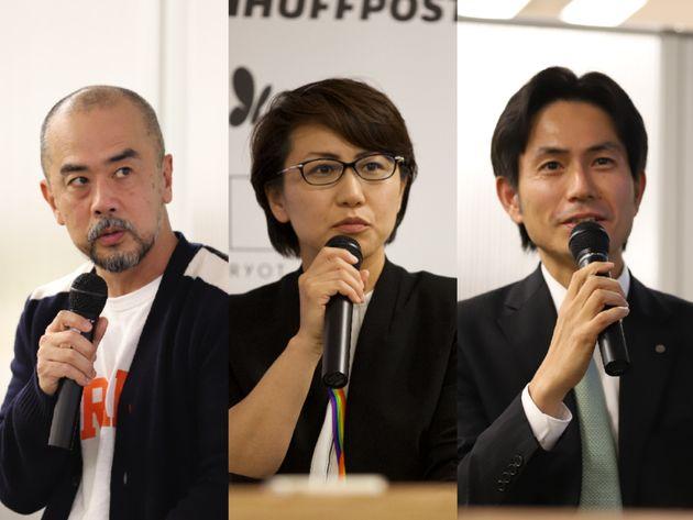 左から、ラッシュジャパンの安田雅彦さん、「虹色ダイバーシティー」代表の村木真紀さん、日本航空の百田寛さん