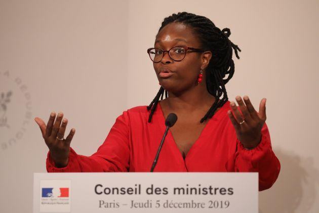 Sibeth Ndiaye lors du compte rendu du Conseil des ministres le 5