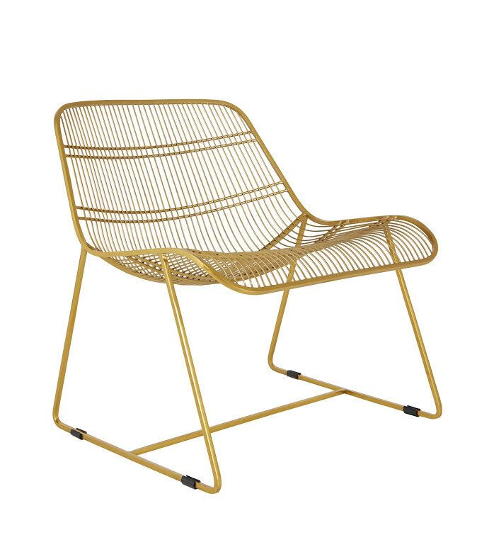 """<a href=""""https://fave.co/34pMF9q"""" target=""""_blank"""" rel=""""noopener noreferrer"""">Tabitha Gold Metal Wire Lounge Chair,</a> was &pound;275, now &pound;137.50 (50% off)"""