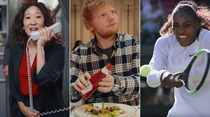 From left, Sandra Oh, Ed Sheeran and Serena Williams appear in ads featured on YouTube for Air Canada, Heinz and Nike. These three spots were the most watched YouTube ads in Canada for 2019.