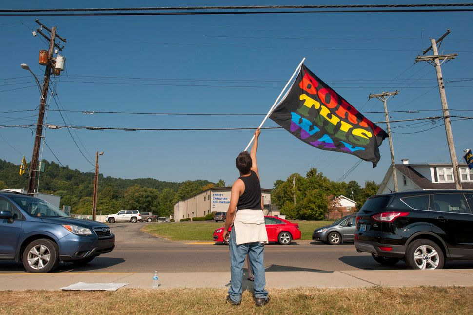A demonstration for LGBTQ rights in Rowan County, Kentucky, in 2015, after county clerk Kim Davis refused to sign marriage li