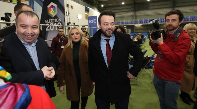 SDLP leader Colum Eastwood and his wife Rachel arrive at Meadowbank Sports Arena in Magherafelt Co Londonderry as counting begins Westminster election.