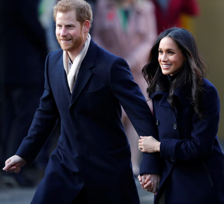 Prince Harry and his then-fiancee Meghan Markle.