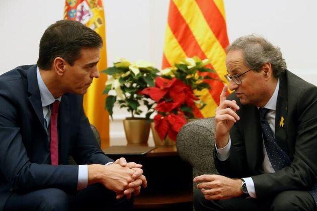 Pedro Sánchez y Quim Torra, durante el último encuentro que mantuvieron, en Pedralbes,...