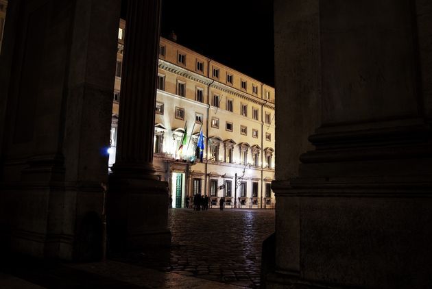 Rome. Chigi palace by night. It is the government's