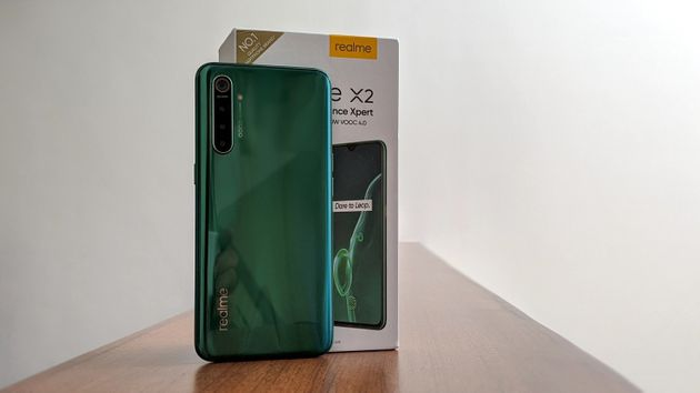 The Realme X2 in the Pearl Green finish really stands