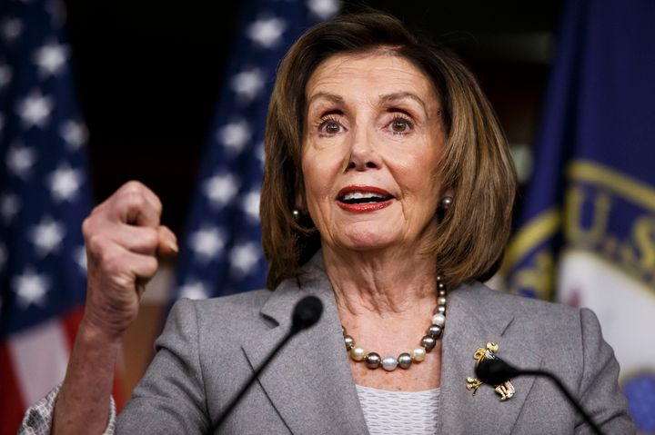 U.S. House Speaker Nancy Pelosi speaks during a press conference on Capitol Hill in Washington D.C., the United States, on De