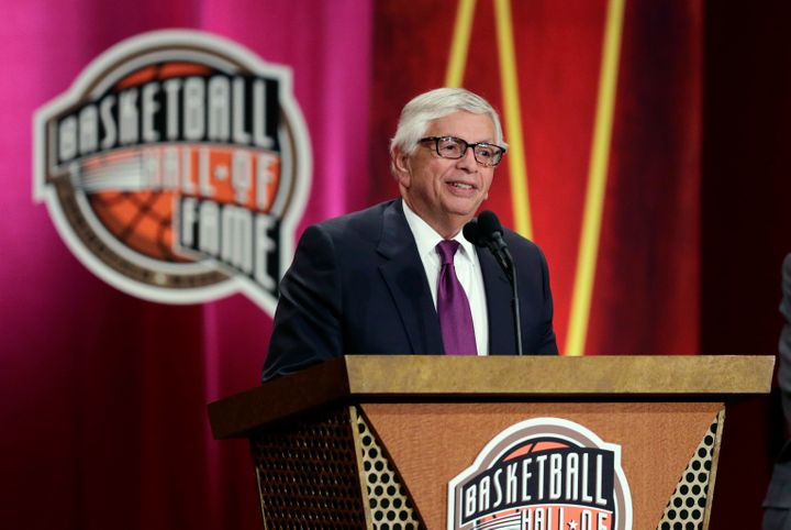 Former NBA Commissioner David Stern speaks during his induction into the Basketball Hall of Fame in Springfield, Mass., in 20
