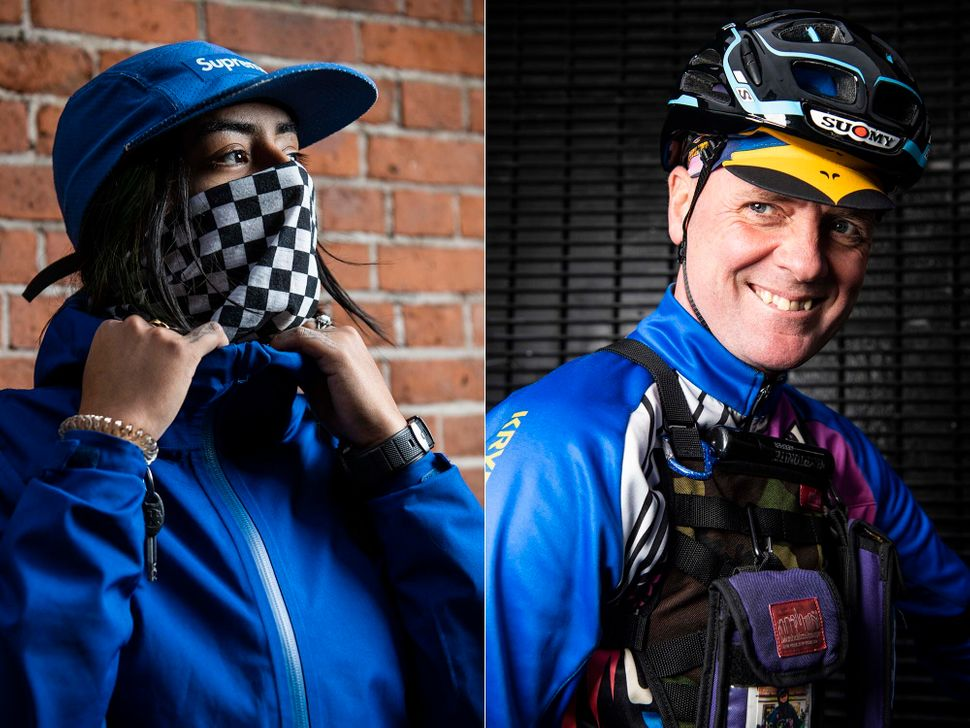 Caro (left) and Kevin Bolger (right) are New York City bike messengers.