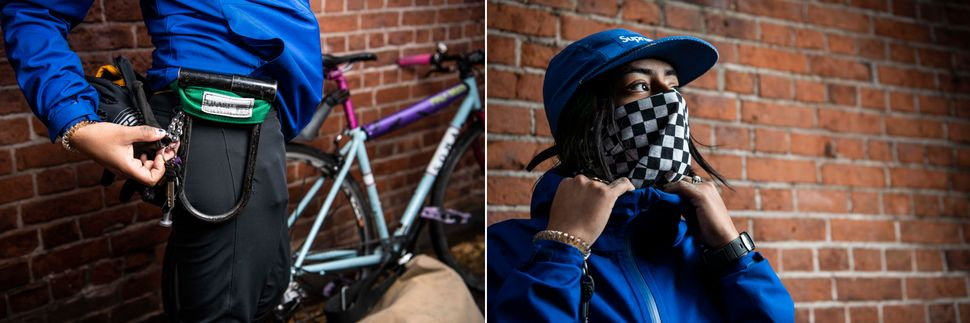 Left: Caro's pants are made of a water resistant four-way stretch fabric. Right: Caro's gaiter / face mask is from All City Cycles.