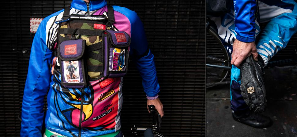 Left: Bolger's cycling jersey has several pockets on the lower back to store snacks, phones, extra battery packs or anything else that fits. Right: Bolger locks on his bike with shoes without a clip on dry days.