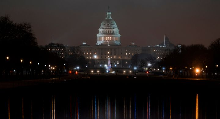 The U.S. Capitol is seen early Tuesday, Dec. 17, 2019, as House Democrats prepare their impeachment case against President Do