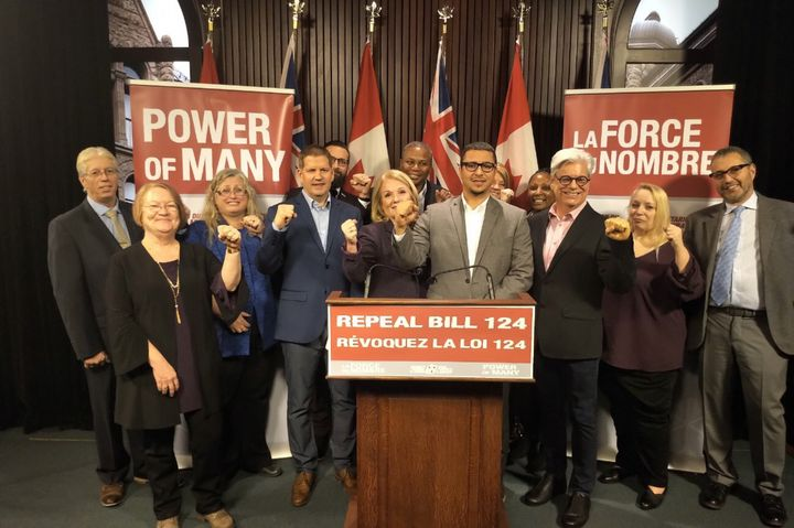Union leaders announce they'll challenge the Ford government's law that caps raises for public sector workers at Queen's Park in Toronto on Dec. 17, 2019.