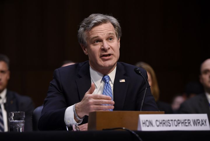 FBI Director Christopher Wray testifies before the Senate Homeland Security Committee on the current threat environment, Nove