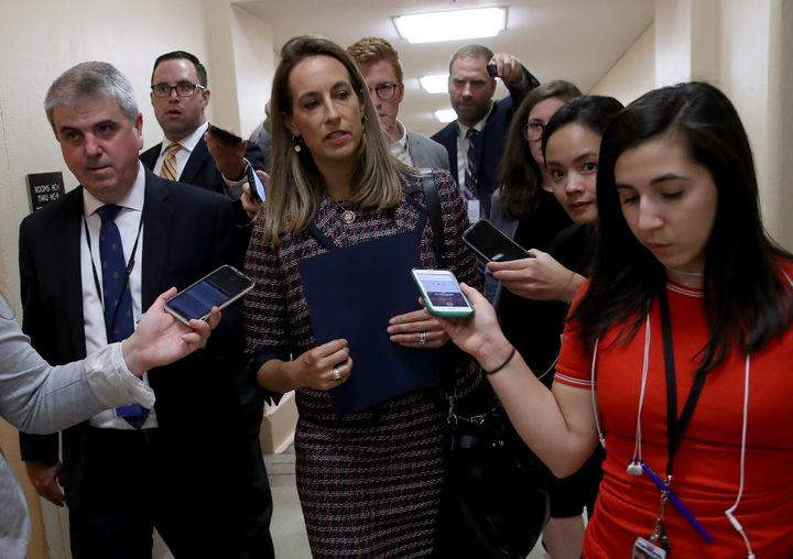 Rep. Mikie Sherrill (D-N.J.) speaks with reporters after House Speaker Nancy Pelosi announced formal impeachment proceedings