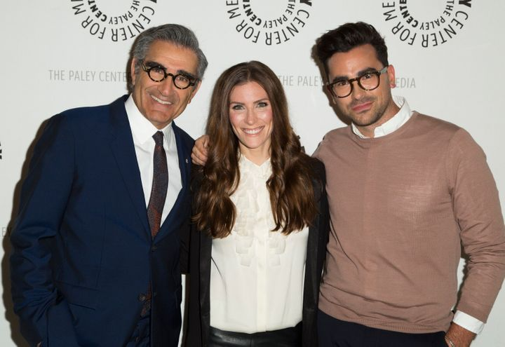 """Eugene Levy, Sarah Levy and Daniel Levy attend Paley Center for Media Presents PaleyLive LA: An evening with """"Schitt's Creek"""" on March 2, 2016, in Beverly Hills."""