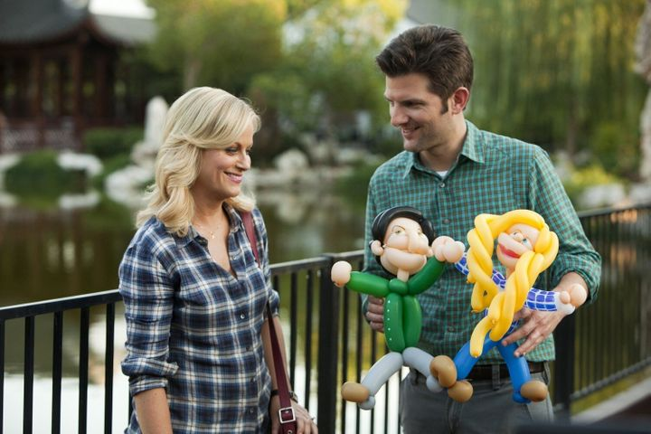 "Amy Poehler and Adam Scott in ""Parks and Recreation."""