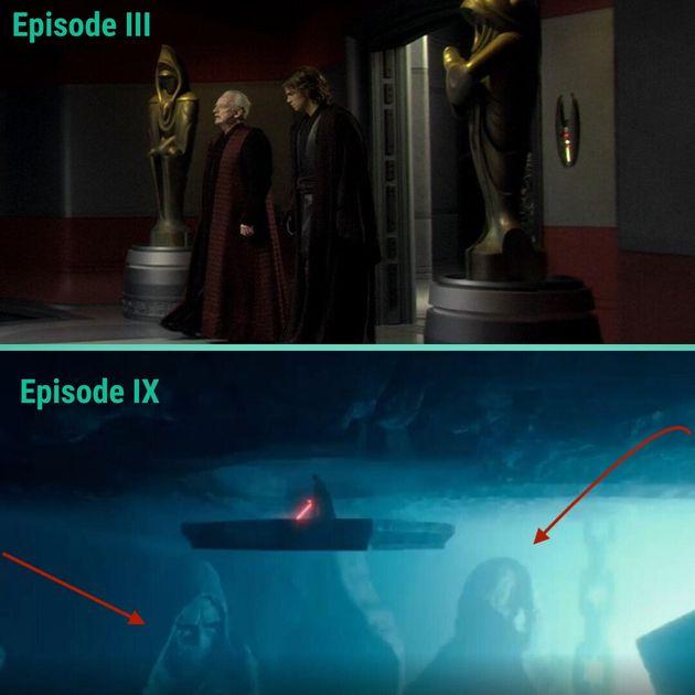 Les statues Dwartii de Palpatine dans Star Wars épisode III et Star Wars 9 Rise of