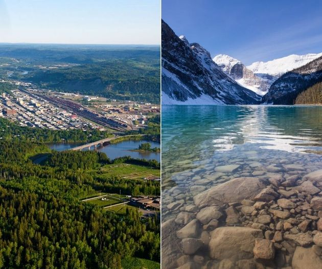 Prince George, B.C. (left) and Lake Louise, Alta. (right). Two very different
