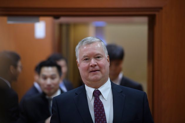 US special representative for North Korea Stephen Biegun (L) arrives for a meeting with South Korea's...