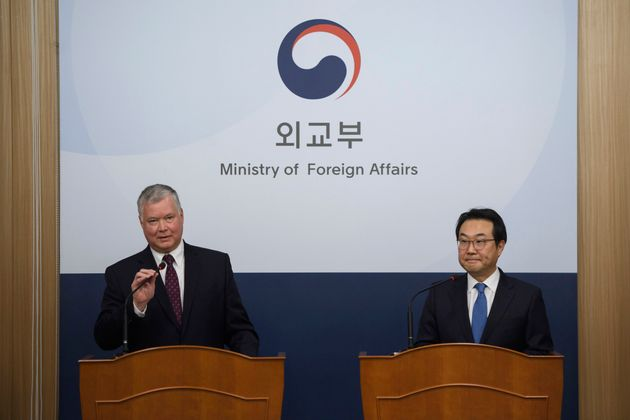 U.S. Special Representative for North Korea Stephen Biegun, left, speaks as his South Korean counterpart...