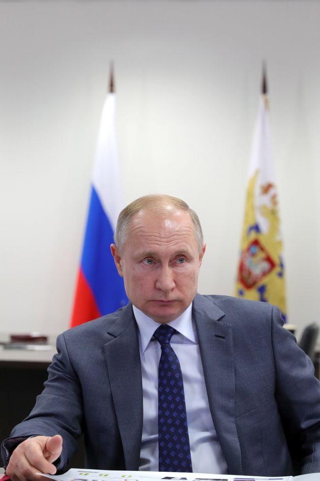 TATARSTAN, RUSSIA - DECEMBER 13, 2019: Russia's President Vladimir Putin during a meeting with KAMAZ...