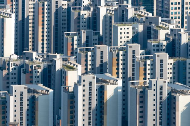 High angle view of apartment blocks in Seoul, South