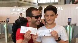 Cet enfant pensait accompagner son père à l'aéroport, finalement, il part avec