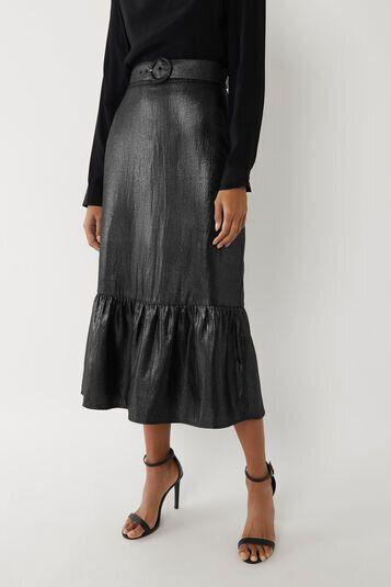 Metallic Tiered Midi Skirt, Warehouse, £61