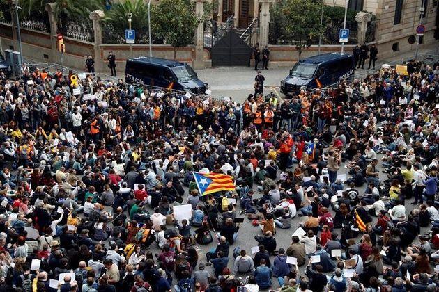 Manifestantes convocados por Tsunami Democràtic, el pasado octubre en