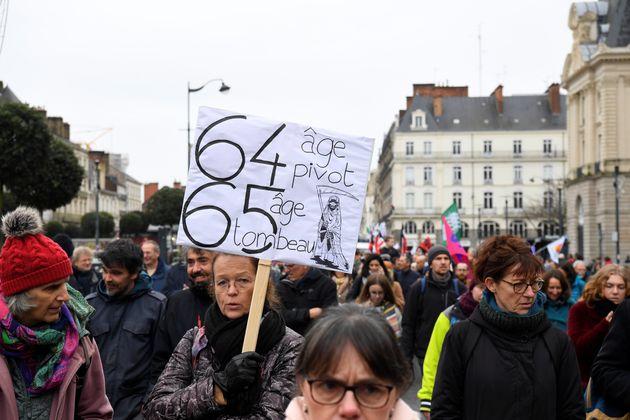 Lors de la manifestation contre la réforme des retraites, le 17 décembre à