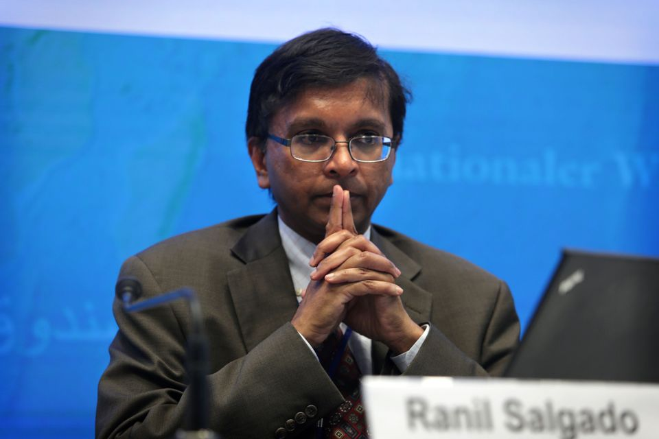 Ranil Salgado attends a press conference in Hong Kong on the IMF's regional economic outlook for Asia...