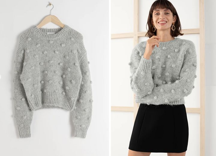 """<a href=""""https://fave.co/2EuIsa8"""" target=""""_blank"""" rel=""""noopener noreferrer"""">Alpaca Wool Knit Bobble Sweater, &amp; Other Stories,</a> &pound;99&nbsp;"""