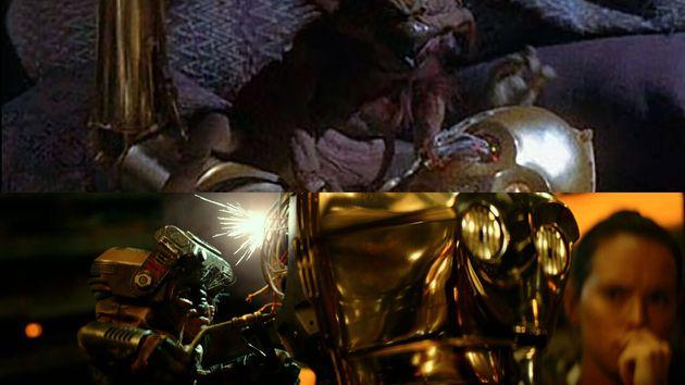 Entre le personne de C3PO, incarné par Anthony Daniels, et les marionnettes de