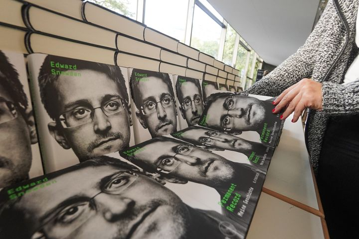 """Copies of Edward Snowden's book """"Permanent Record: My Story"""" are seen at a bookstore. A federal judge ruled Tuesday that the"""