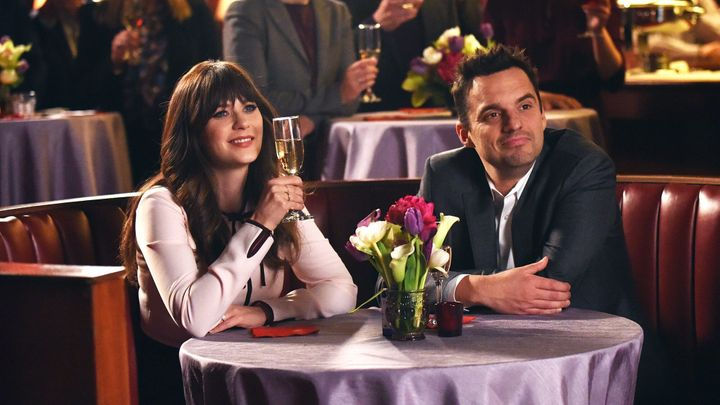 "Zooey Deschanel and Jake Johnson in ""New Girl"""