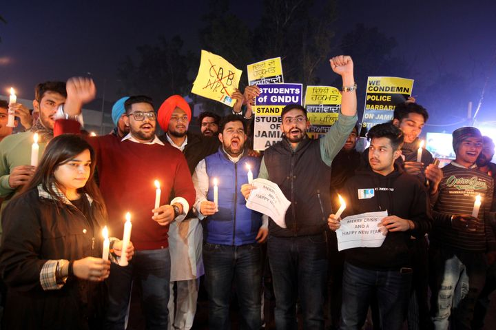 Demonstrators in Amritsar, India, shout slogans during a protest against a new citizenship law and to show solidarity wi