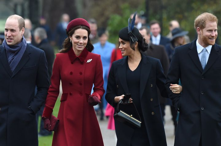 Prince William, Kate Middleton, Meghan Markle and Prince Harry at Christmas Day morning church service at St Mary Magdalene Church in Sandringham, Norfolk in 2018.