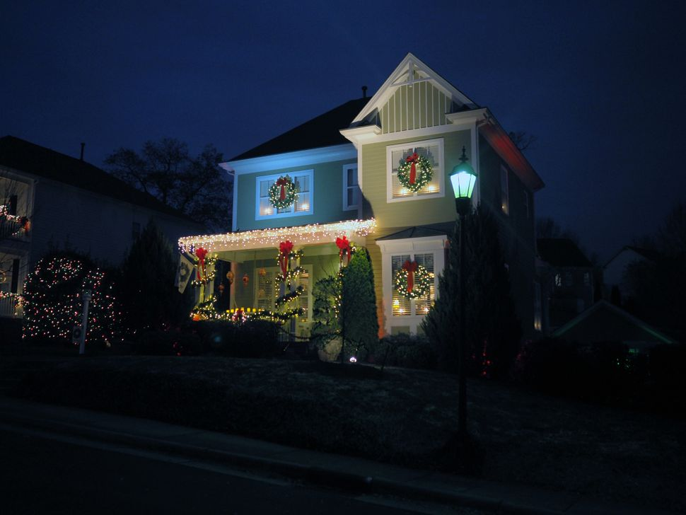A home in McAdenville, North Carolina, decorated for Christmas.