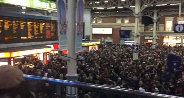 Screengrab from video taken with permission from the Twitter feed of @BROOMBY of people flooding the...
