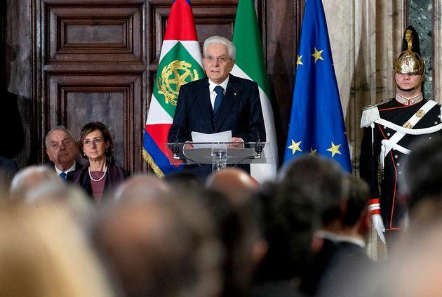 Il Presidente della Repubblica Sergio Mattarella in occasione della cerimonia per lo scambio degli auguri...