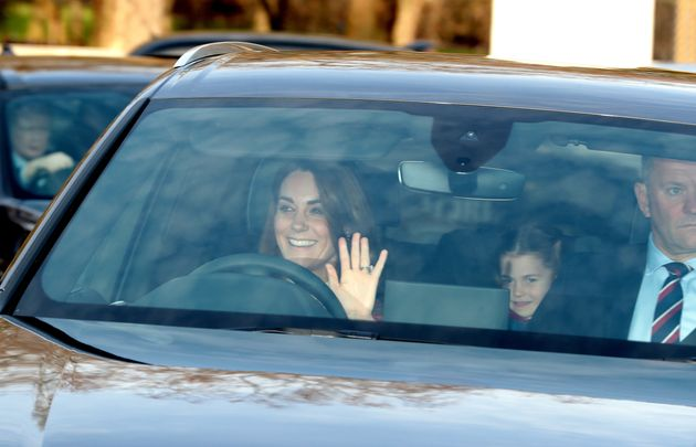 The Duchess of Cambridge and her daughter, Princess Charlotte, arrive for the Queen's Christmas