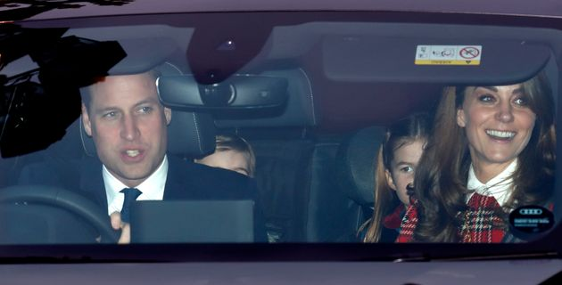 William, Louis, Charlotte and Kate attend a Christmas lunch for members of the royal family hosted by...
